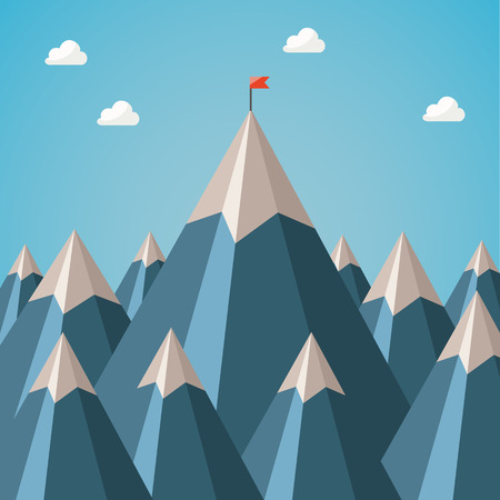 achieving: achieving the goal. upward movement. flag on the top of the moun