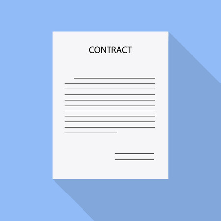 paper with the inscription contract to flat design. Stock vector
