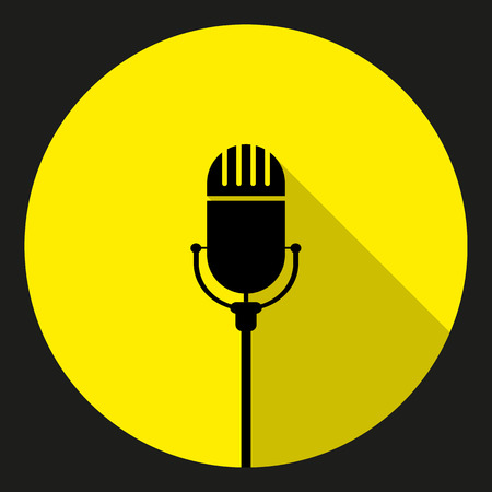 cir: Vintage black silhouette retro stage microphone. web icon in cir Illustration