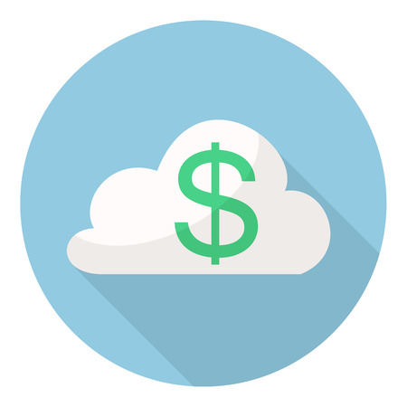 Dollar Service Cloud Computing. green dollar in the cloud networ