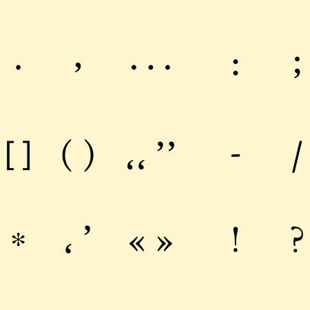punctuation marks: set of different punctuation marks on krasifom background. vecto Illustration