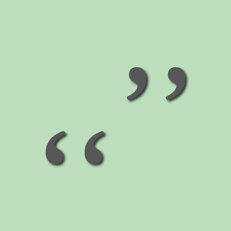 Quotation mark symbol. Double quotes at the end of words on gree Illustration