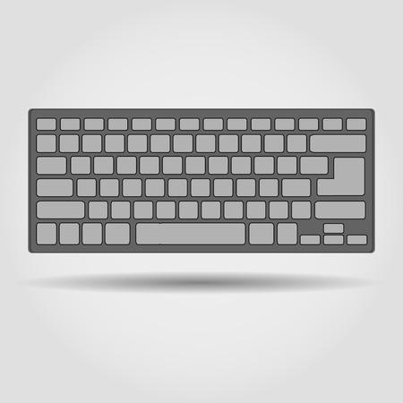 keyboard computer: teclado sobre un fondo gris con la sombra. Stock Vector Vectores