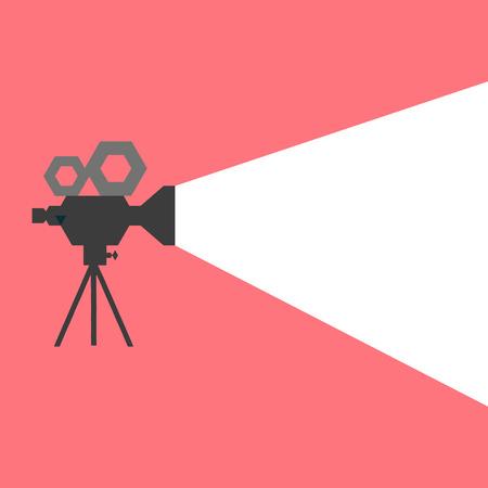 cinta pelicula: Cartel detallada retro vector proyector de cine fresco, folleto o ba