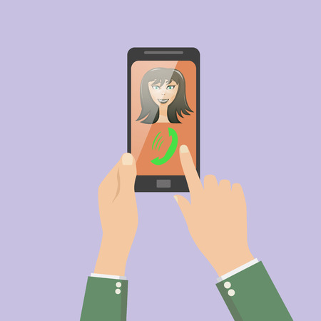 phon: answer the phone rings. video call. face of the girl on the phon Illustration