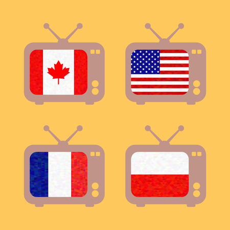 known: set icons with flags of countries known on an orange background