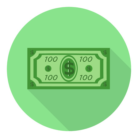 fake money: hundred dollar with flat shadow on green background Illustration