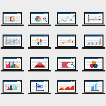 graphs and charts: Business data market elements dot bar pie charts diagrams