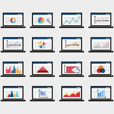 graficas de pastel: Elementos de mercado de datos de negocios salpican gráficos circulares barra de diagramas Vectores