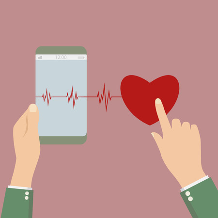 heartbeat line: phone goes into life with a heartbeat. vector