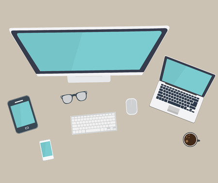 Style Modern Design Concept of Creative Office Workspace. Icons