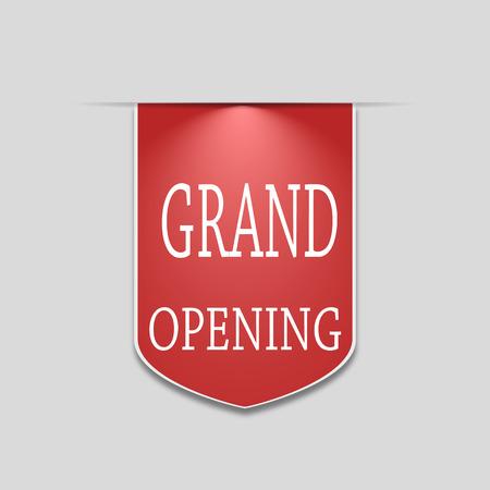 バナー グランド オープン。看板、ステッカー、サイン。株式ベクトル。
