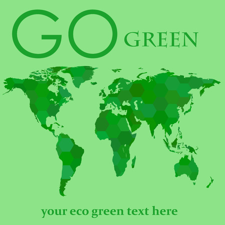 a place of life: map of the earth. green life. life forward. place for green text