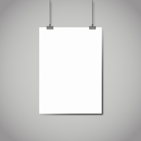 empty sign: Blank white page hanging against grey background vector template