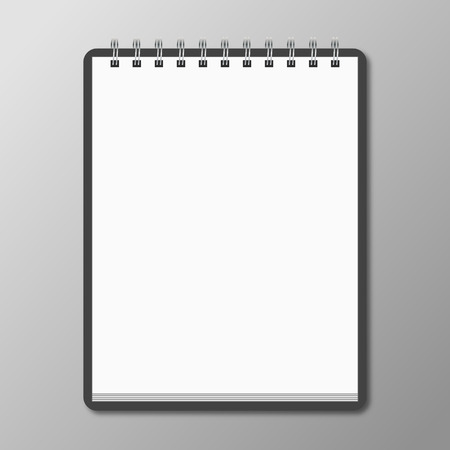 Blank spiral notebook on white background with soft shadows. Vector Ilustração