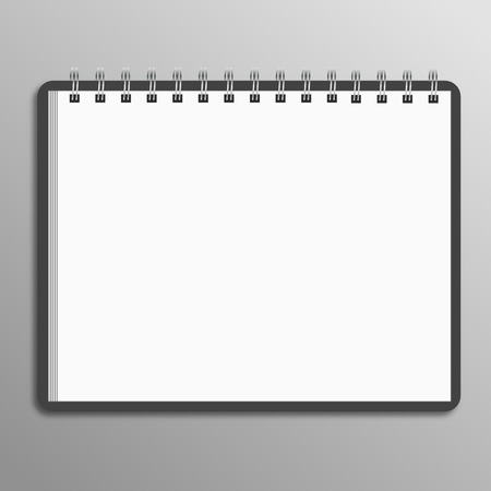 Blank spiral notebook on white background with soft shadows. Vector Çizim