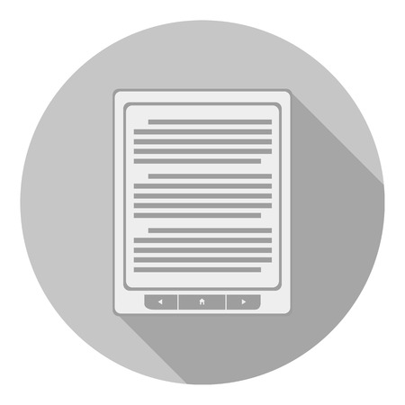 databank: e-book reader icon in flat style. isolated on gray background. t