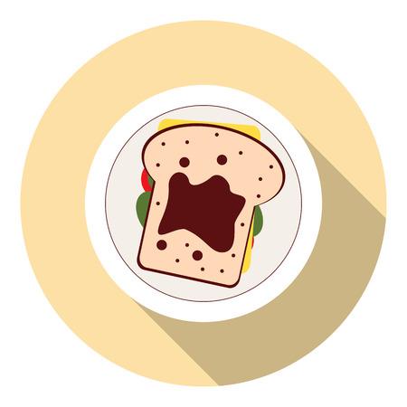minimalist: Vector minimalist food con. Sandwich with tomatoes, lettuce,