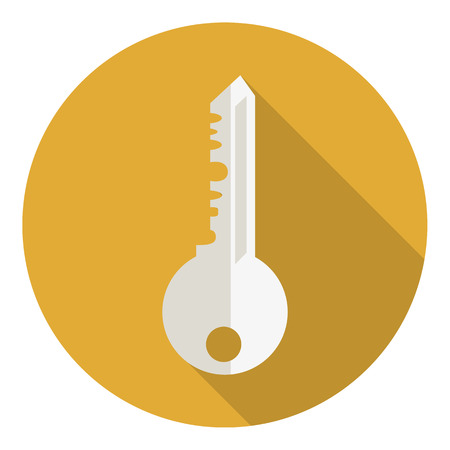 privileges: Key icon, vector illustration. Flat design style