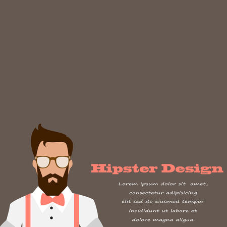 suspenders: stylish card in hipster design for congratulations on a brown background. vector Illustration