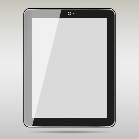 blank tablet: Realistic Tablet PC With Blank Screen.