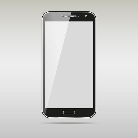 Modern touchscreen cellphone tablet smartphone isolated on light background.  Illustration