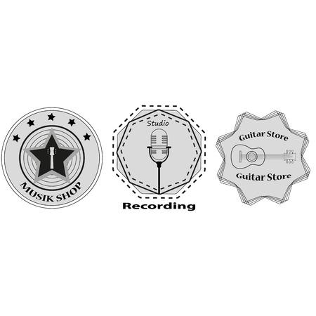 recording studio: set van logo's voor de muziekwinkel, opnamestudio. sticker op een T-shirt. Stock vector