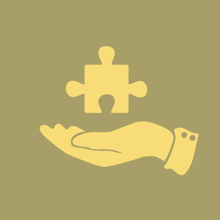 business symbols metaphors: icon puzzle in a mans hand