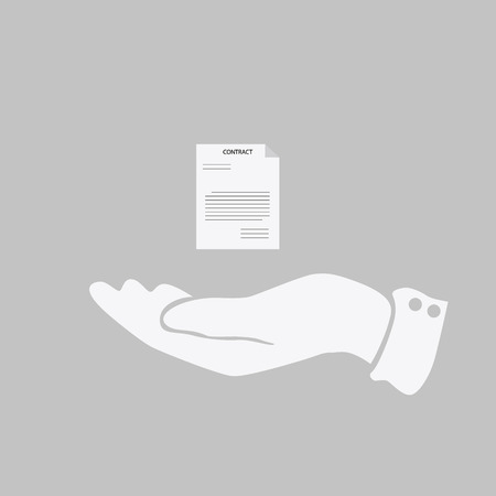 document icon: document icon in the hand of man. Illustration