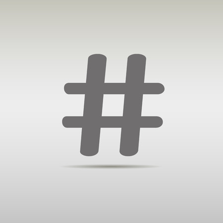 microblogging: black hashtag icon with shadow. isolated on grey background.