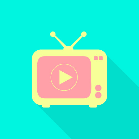 tv scherm: TV icon on the screen to play. flat design Stock Illustratie