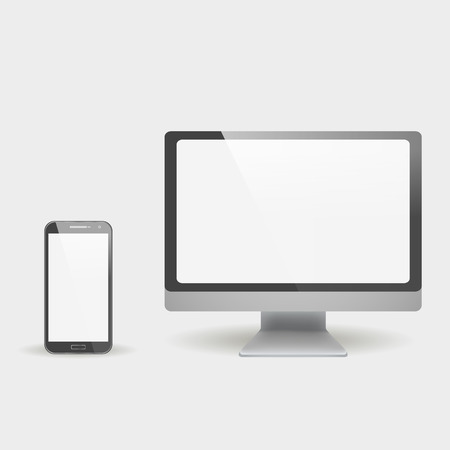 multi touch: modern and stylish design of the phone, and monitor. set of modern devices Illustration