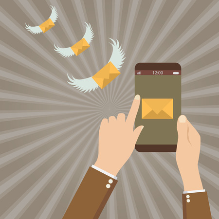 conection: send SMS messages phone. SMS flying with wings