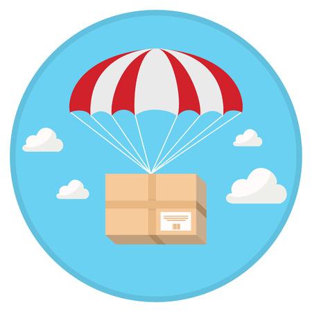 Pakket vliegen naar beneden van de hemel met parachute in plat ontwerp Stock Illustratie