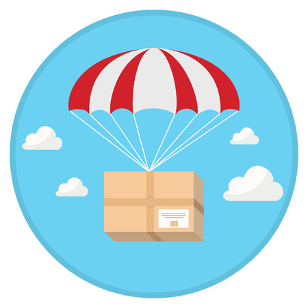 Package flying down from sky with parachute in flat design Vectores