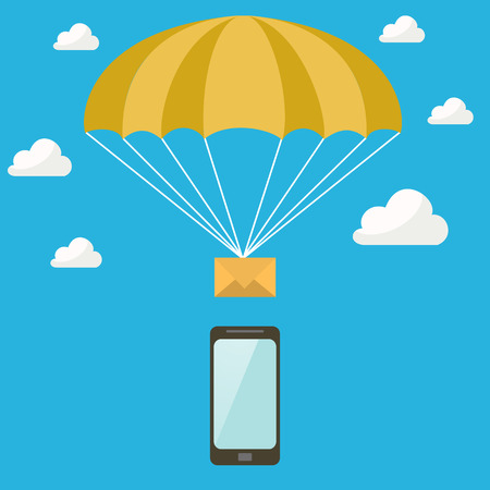 SMS goes down on a parachute from the sky into the phone Illustration