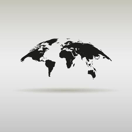 그림자가있는 간단한 세계지도 일러스트