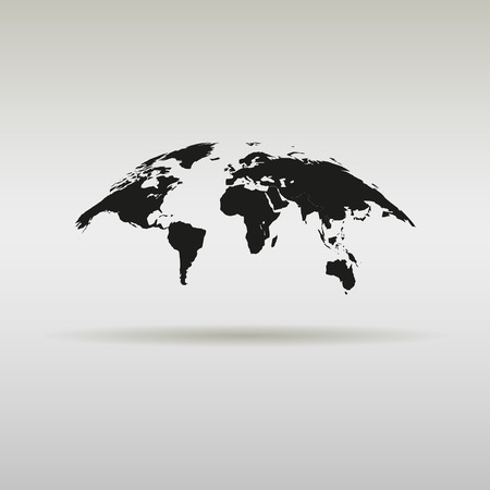 simple world map with shadow