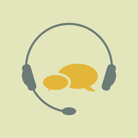 support phone operator in headset: hotline support service. Feedback. Online help