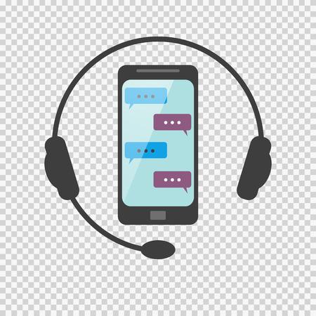 전화로 또는 SMS를 통해 네트워크에 대한 질문에 아이콘 답변 일러스트