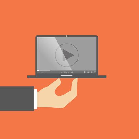 ラップトップ コンピューターの時計映画プレーヤー。一方でノート パソコン。フラットなデザイン  イラスト・ベクター素材