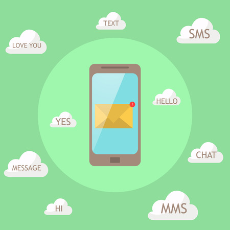 message: simple style of the phone together with different types of messages. word message in the cloud