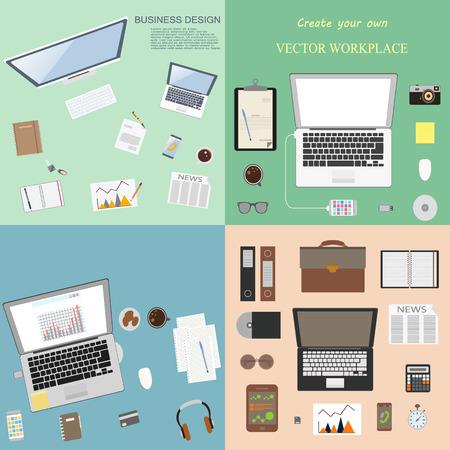 workspaces: Excelente conjunto Mega de espacios de trabajo para los negocios y la oficina. Vectores