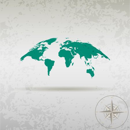 old world: map of the earth with a compass in a stylish design Illustration