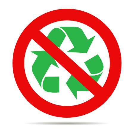 Illustration of a not allowed icon with a recycle sign
