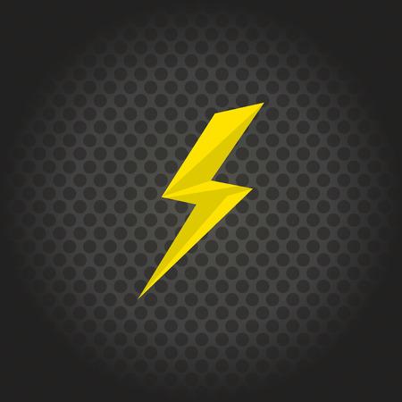 lightning bolt: yellow lightning on stylish background in circle