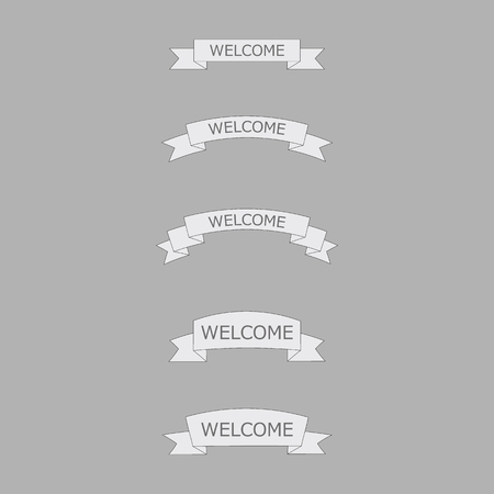 open type font: welcome ribbon on gray background Illustration