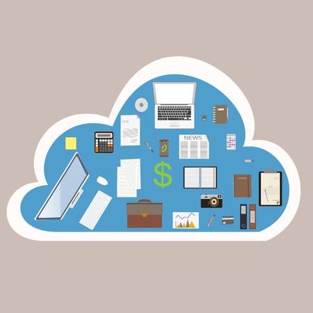articulos de oficina: Items de la oficina en la nube en l�nea.