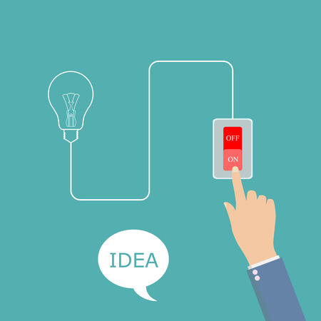 enable: concept of big ideas inspiration innovation, invention, effective thinking. Hand presses the button to enable