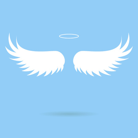 animal angelic: Vector white paper wings on a blue matte background. Beautiful applique.